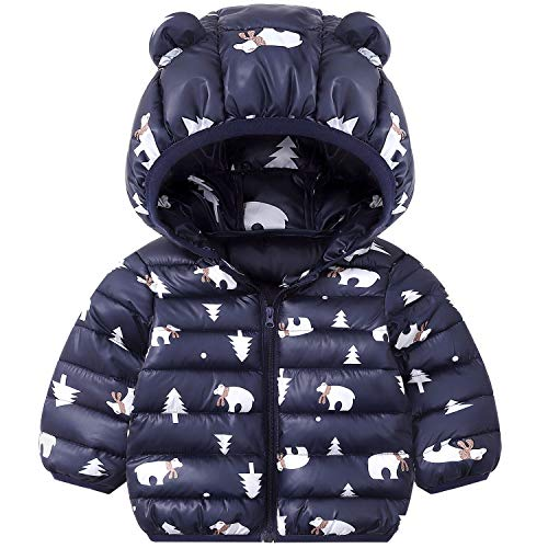 Niños Traje de Invierno, Chaqueta con Capucha Unisexo Abrigo de Ligero Impermeable Ropa para Bebé 12-18 Meses
