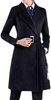 Macondoo Women's Wool-Blend Thicken Overcoat Double Breasted Lapel Midi Long Pea Coat