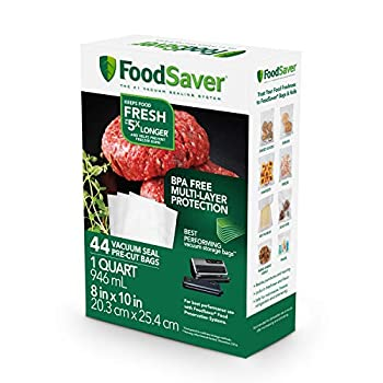 FoodSaver 1-Quart Precut Vacuum Seal Bags with BPA-Free Multilayer Construction for Food Preservation 44 Count