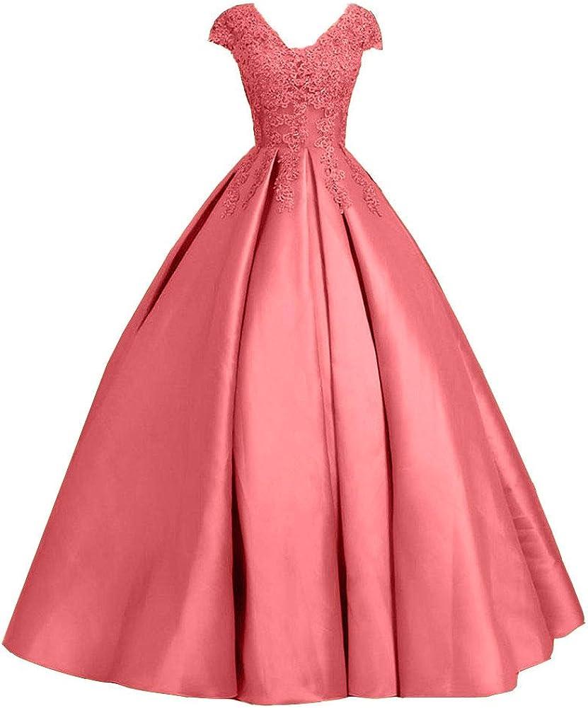 Snow Lotus Women's V Neck Lace Applique Quinceanera Dress Cap Sleeves Ball Gown Dress