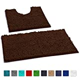 LuxUrux Bathroom Rugs Luxury Chenille 2-Piece Bath Mat Set, Soft Plush Anti-Slip Bath Rug +Toilet Mat.1'' Microfiber Shaggy Carpet, Super Absorbent (Curved Set, Brown)
