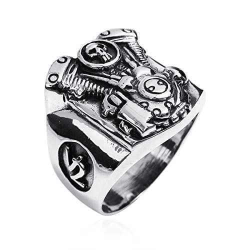 AeraVida Motorcycle Engine V2 Skull .925 Sterling Silver Ring (12)