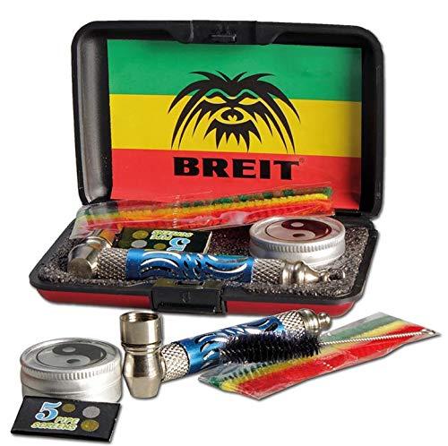 ARL Group – Estuche morado puro pipa de metal «Breit» + 1 cepillo de limpieza + 1 caja Ying-Yang + 5 rejillas para tamiz + 3 palillos