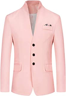 Mens Regular Fit Jacket Blazer Long Sleeve Single Breasted Stand-up Collar Casual Jackets