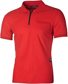 Men's Fashion Zip-up Shirt Slim Fit Contrast Short Sleeve Casual with Pocket T-Shirt