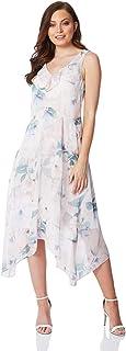 Vestido floral de gasa con volantes, para mujer, para noche, formal, boda, fiesta, verano, ligero, sin mangas, asimétrico, vestido midi