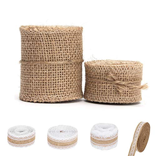 6 Rolls Natural Ribbon, Burlap Ribbon Rolls with Lace Jute Ribbon Rolls Hessian Ribbon Wired for Wedding Christmas Party Crafts Gifts Wrapping Decorations (Mixed Size)