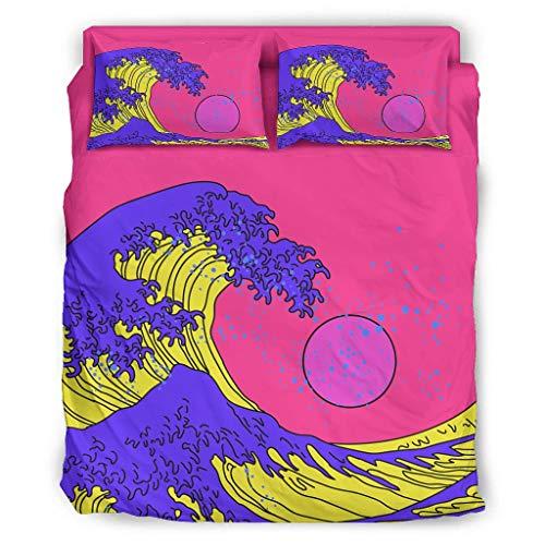 Japan-ese Uki-yoe Big Wa-ve - Set di biancheria da letto colorato, design pulito, cuscino natalizio, 240 x 264 cm