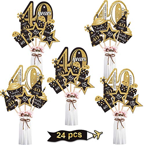 Blulu Juego de Decoración de Fiesta de Cumpleaños Palillos de Centro de Mesa Dorado Toppers de Mesa Brillantes Materiales de Fiesta, 24 Piezas (40 Cumpleaños)