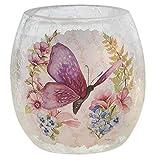 Stony Creek Glass Votive Light Purple Butterfly Pastel Design 3 Inch High