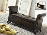 DRW Banqueta-Descalzadora con baúl, Polipiel, 114 X 39 X 58 cm