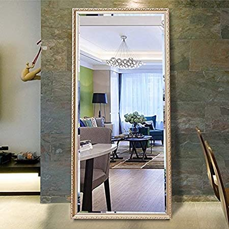 Amazon Com Hans Alice 65 X24 Rectangular Bathroom Full Length Floor Mirror Standing Or Hanging Champagne Home Kitchen