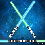 JOYIN Light Up Saber 2-in-1 LED FX Dual Light Swords Set with Sound (Motion Sensitive) and Realistic Sliver...