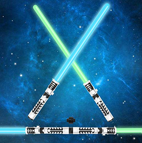 JOYIN Light Up Saber 2in1 LED FX Dual Light Swords Set with Sound Motion Sensitive and Realistic Sliver Handle for Halloween Costume Accessories Xmas Presents Galaxy War Fighters and Warriors