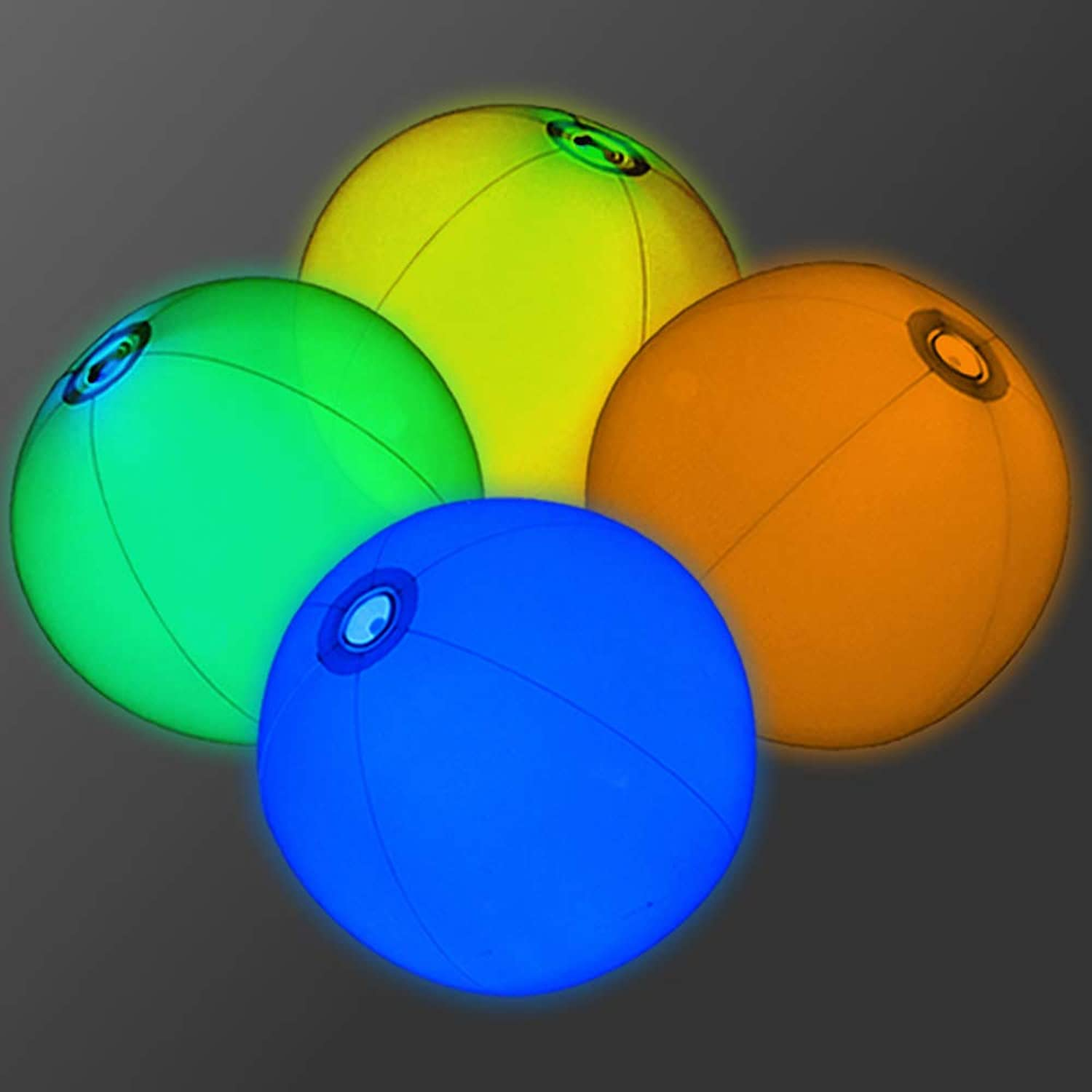 12  Glowing Beach Balls (Set of 12)  Glow Beach Ball with Assorted color Glow Insert