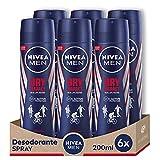 NIVEA MEN Dry Impact Spray, desodorante antitranspirante con protección 48 horas, desodorante spray de cuidado masculino testado en la vida real - pack de 6 x 200 ml