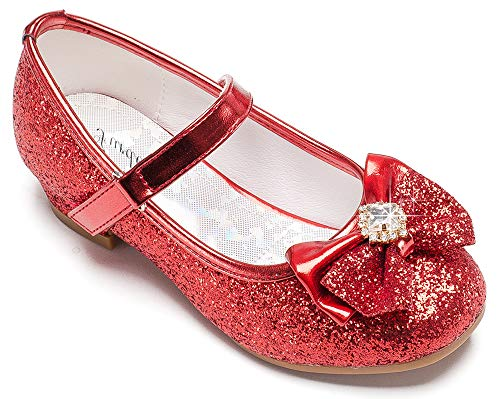 Furdeour Girl High Heel Glitter Princess Shoes Size 7 Flower Sparkle Toddler Red Girls Wedding Party Dress Shoes 2 Yr Little Kids Girl Cute Sequin Costume Footwear(Red 7)