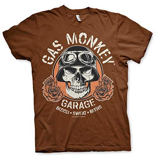 Gas Monkey - Camiseta oficial GMG Hot Rod Skull marrón XXL