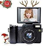 Digital Camera Vlogging Camera for Youtube with Flip Screen 1080p Full HD 24MP 3.0 Inch WIFI Camera with Retractable Flashlight Camcorder