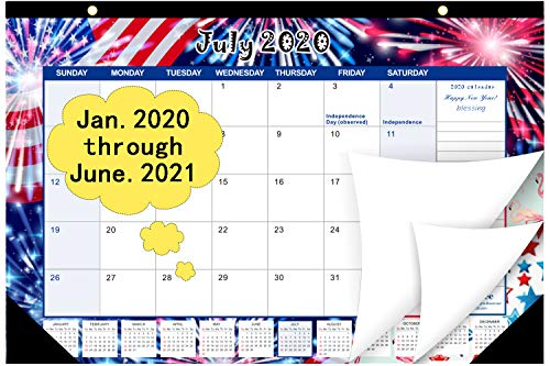 "Desk Calendar 2020-2021, 18 Month Calendar Desk from Jan.2020 - June.2021,17"" x 11.5"" Large Desktop Wall Calendar 2020"
