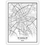 Impresión De Lienzo,Polonia Varsovia Mapa Blanco Negro Simple Arte Moderno Cartel De Pared Mural Pintura Oficina De Estar Hogar Dormitorio Espacio Decoración Estilo Nórdico, 50X70Cm /19.6 * 27.5 E