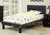 Poundex PU Upholstered Platform Bed, Twin, Black
