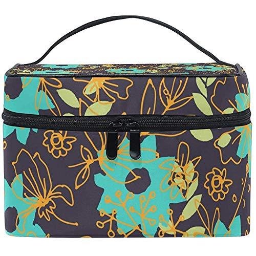 Aqua Blue Floral Pattern Cosmetic Bag Toiletry Bags Travel Makeup Large Organizer Portable Multifunctional Case