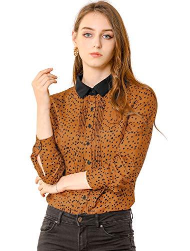 Allegra K Women's Dots Tops Shirts Long Sleeve Contrast Collar Button Down Blouse Large Caramel