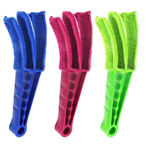 JTOOYS Window Blinds Duster, 3Pcs Removable Washable Blind Brush Blind Duster Brush Cleaner Tool for Shutters, Shades, Air Conditioner Vent Covers, Car Vent & More