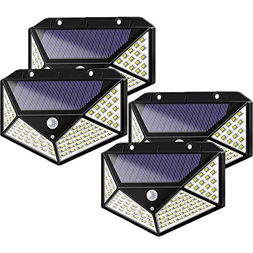 Solar Lights Outdoor, Solar Motion Sensor Lights, 100 LED/3 Modes/270°Wide Angle, Wireless IP65 Waterproof Solar Powered Security Outdoor Wall Lights for Garden Patio Yard Garage Pathway,4 Packs