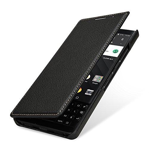 StilGut Book Type Lederhülle für BlackBerry Key2. Seitlich klappbares Flip-Hülle aus Echtleder mit Smart Cover Funktion, Schwarz