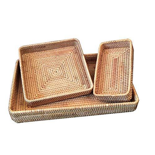 Rattan Fruit Basket Rattan Nesting Serving Trays Set Of 3 Fruit Display Storage Basket Food Snack Tray Weaving Storage Woven Storage Basket (Color : Natural, Size : S+M+L)