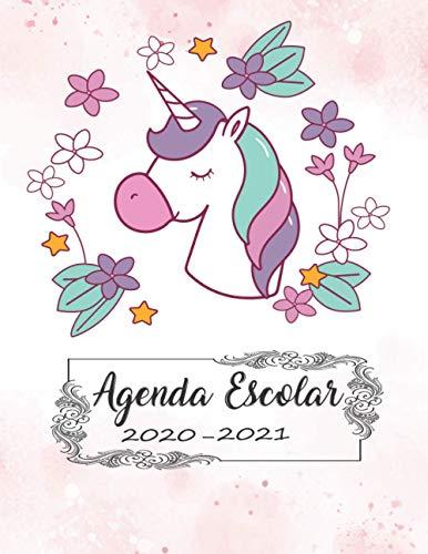 Agenda Escolar 2020 2021 | Unicornio |: Planificador escolar 2020 2021 dia Vista | Agenda escolar para estudiantes Unicornio | Colegio, secundaria, estudiante