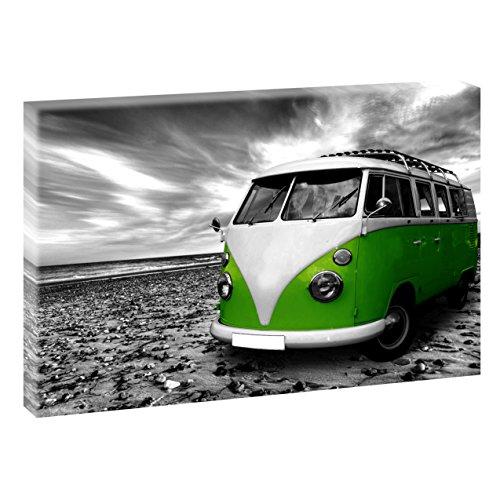 Querfarben Strand mit Retro Bulli | Panoramabild im XXL Format | Poster | Wandbild | Poster | Fotografie | Trendiger Kunstdruck auf Leinwand Größen (120 cm x 80 cm, Schwarz-Weiß/Grün)