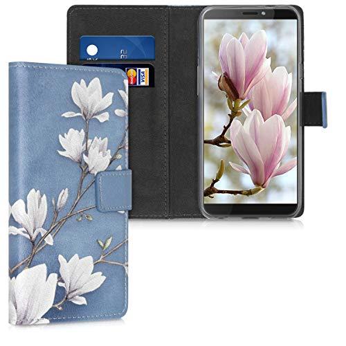 kwmobile Wallet Hülle kompatibel mit HTC Desire 12s - Hülle mit Ständer Kartenfächer Magnolien Taupe Weiß Blaugrau