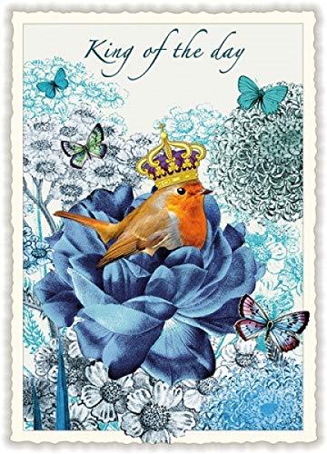 Nostalgische Postkarte mit Glitzer * Rotkehlchen * King of the Day