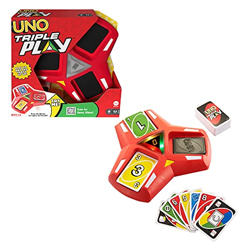UNO Triple Play Card Game with Card-Holder Unit with Lights & Sounds & 112 Cards, Kid, Teen & Adult Game Night Gift Ages 7 Years & Older