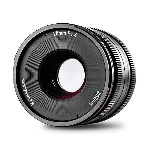 Kamlan 28 mm F1.4 APS-C Lente de enfoque fijo manual de gran apertura, lente principal estándar para cámaras sin espejo M4 / 3