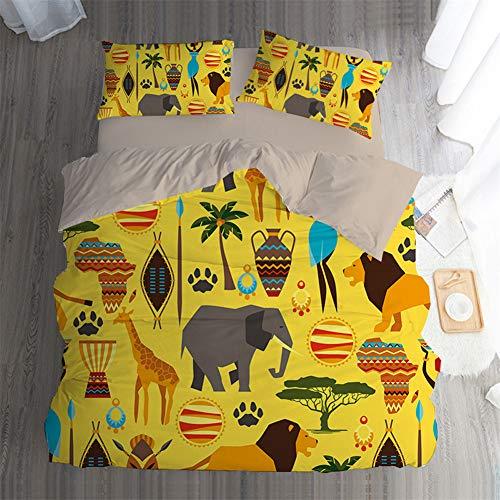 KIND NY BettwäSche Bettdecken Steppdecke Kissenbezug Bettbezug Waschbar Weich Schleifen Schlaf Nackt Digitaldruck der Klassischen Afrikanerin 3/4-Teiliges Set,E,UK-Superking