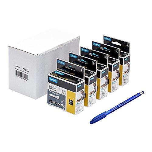 Dymo 5étiquettes souples autocollantes industrielles 18489Rhino en nylon–Rouleau 19mm x 3.5m, impression noir sur blanc + stylo PaperMate en cadeau
