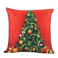 """✓ MATERIALE E DIMENSIONI: La federa è realizzata in materiale di lino, resistente, lavabile e facile da pulire. Dimensioni: 45 cm * 45 cm / 18 """"* 18"""" (deviazione di 1-2 cm). ✓ STILE SEMPLICE: Babbo Natale, cervo di Natale, albero di Natale, pupazzo d..."""