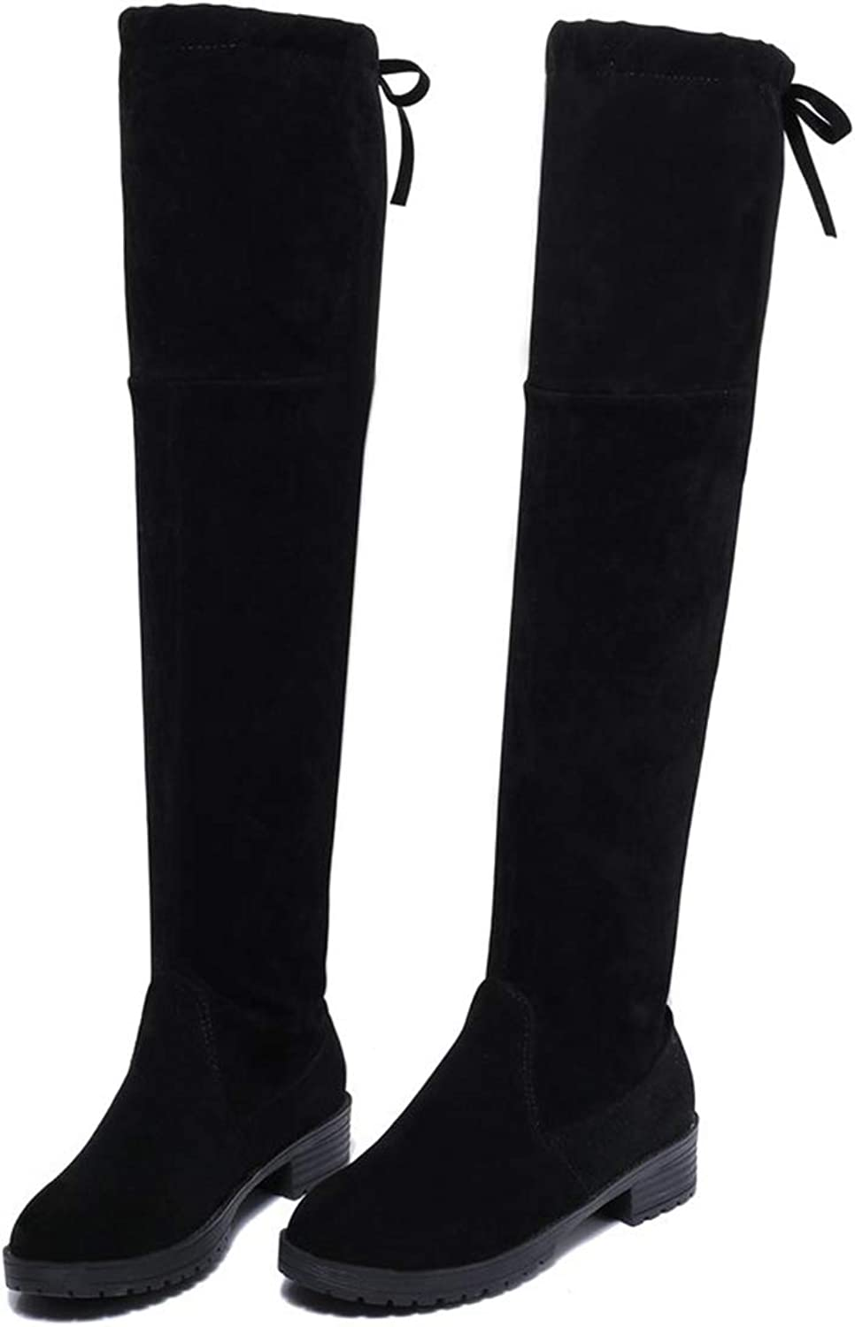T-JULY Women's Winter Snow shoes Boots Sexy Black Casual Flat Warm Over-The-Knee Boots Botas