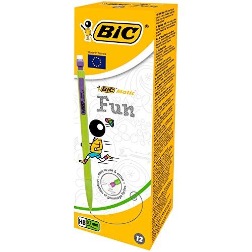 BIC Matic Fun - Caja de 12 portaminas con mina HB de 0.7 mm, colores varios
