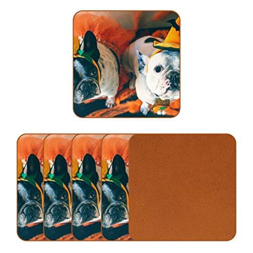 BENNIGIRY Par de Perros disfrazados para Halloween Posavasos de Cuero Taza de café Cuadrada Taza de Vidrio Manteles Individuales Tapetes para Tazas Manteles Individuales 6 PCS