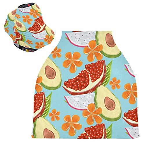 Sinestour Tropical Fruit - Fundas de asiento de coche para bebé, funda para silla alta, toldo multiusos para asiento de coche, para bebés y niñas