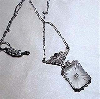 DAINTY 1910s Camphor Glass Bridal Jewelry, in Etched Silver Rhodium w/Edwardian Filigree Lavaliere Bail Fine Paper Clip 17