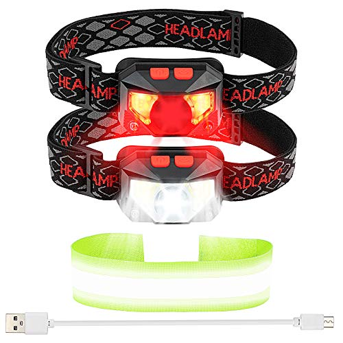 LED Headllamp Flashlight 1000 Lumens Bright USB Rechargeable Head Lamp with Motion Sensor 8 Modes Waterproof Headlight with Red Safety Light Used for Cycling Camping Running Outdoor Fishing 2 Packs