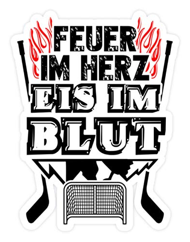 shirt-o-magic Aufkleber Eishockey: Feuer und Eis - Sticker - 10x10cm - Weiß