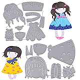 2 Set Fustelle Stencil Ragazza Girl Cutting Dies DIY Scrapbooking Album Carta Biglietti pe...