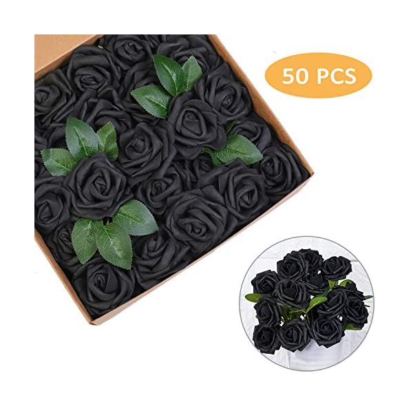 Artificial Flowers Roses 25pcs Black Roses Wedding Decoration Real Looking Fake Roses w/Stem for DIY Wedding Bouquets Centerpieces Arrangements Party Baby Showers Home Decorations (Black, 50 pcs)